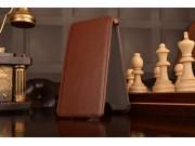 Фирменный чехол-флип для телефона Asus Padfone Infinity New A86 T004 коричневый натуральная кожа