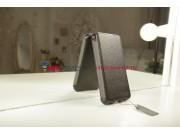 Фирменный чехол-флип для телефона Asus Padfone 3 Infinity A80 черный натуральная кожа