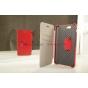 Фирменый чехол-книжка для телефона Asus Padfone 3 Infinity A80 красный натуральная кожа