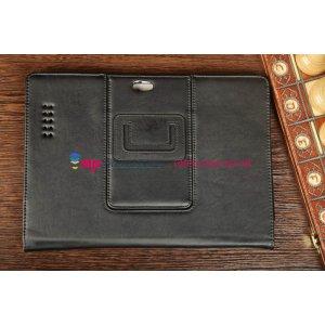 """Фирменный чехол-обложка для Asus Padfone Infinity 4 new A86 T004 с визитницей и держателем для руки черный натуральная кожа """"Prestige"""" Италия"""