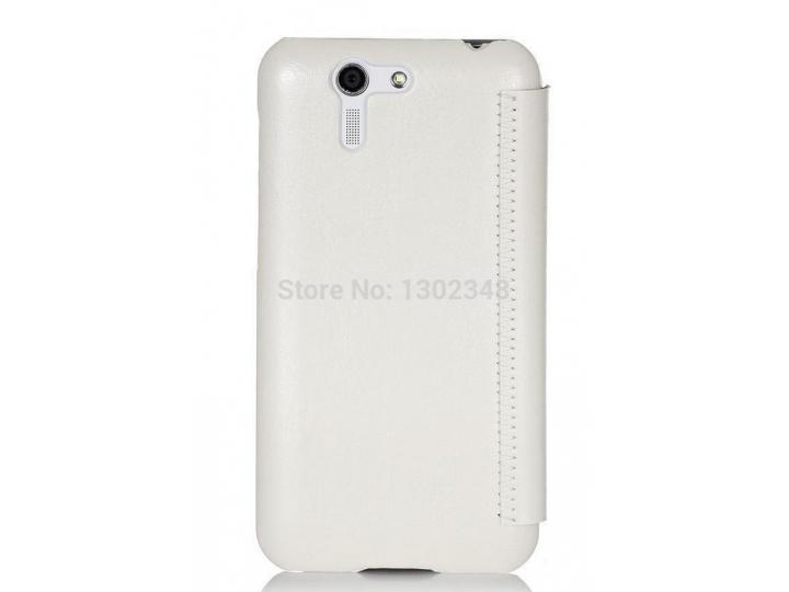 Фирменный оригинальный чехол-книжка для телефона Asus Padfone S5 PF500KL белый натуральная кожа
