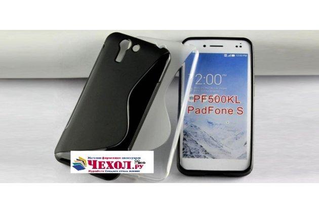 Фирменная ультра-тонкая полимерная из мягкого качественного силикона задняя панель-чехол-накладка для  Asus Padfone S 5 PF500KL черная