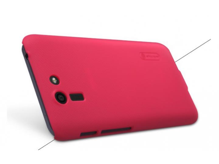 Фирменная задняя панель-крышка-накладка из тончайшего и прочного пластика для Asus Padfone S 5 PF500KL красная..
