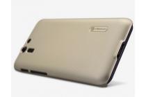 Фирменная задняя панель-крышка-накладка из тончайшего и прочного пластика для Asus Padfone S 5 PF500KL золотая