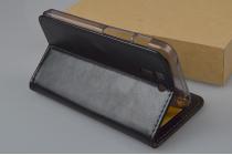 Фирменный чехол-книжка из качественной импортной кожи с мульти-подставкой застёжкой и визитницей для Асус Падфон С 5 ПФ500КЛ  черный