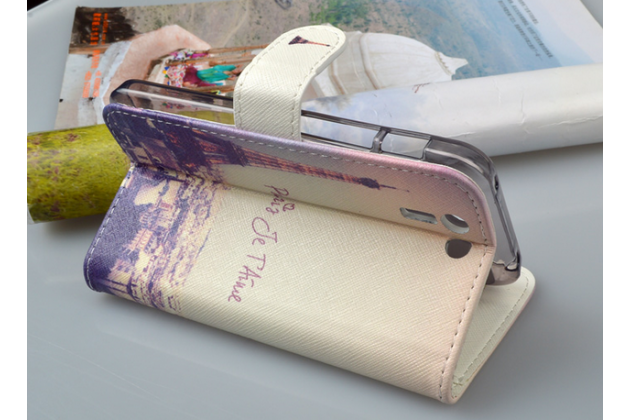 """Фирменный уникальный необычный чехол-подставка с визитницей кармашком для Asus Padfone S 5 PF500KL  """"тематика Франция"""""""