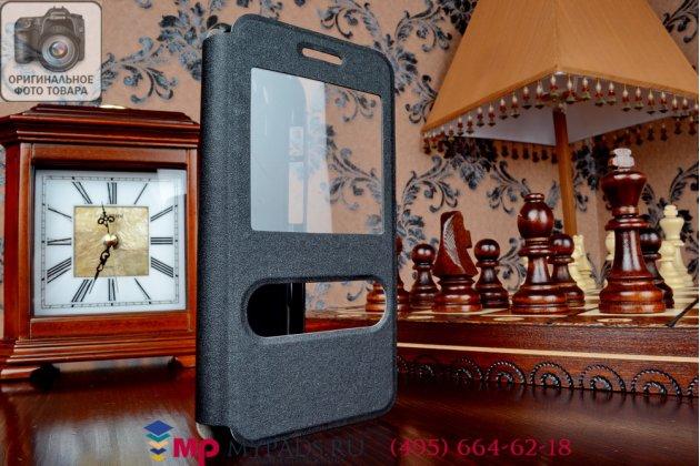 Фирменный оригинальный чехол-книжка для Asus Padfone S5 черный кожаный с окошком для входящих вызовов