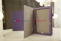 """Фирменный чехол для Asus Transformer Book T100TA с визитницей и держателем для руки фиолетовый натуральная кожа """"Prestige"""" Италия"""