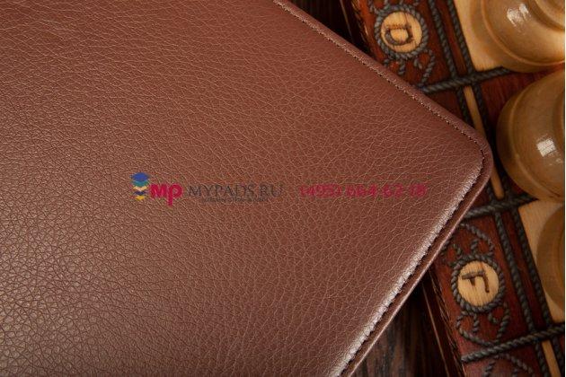"""Фирменный чехол открытого типа без рамки вокруг экрана с мульти-подставкой для Asus Transformer Book T100TA коричневый кожаный """"Deluxe"""""""