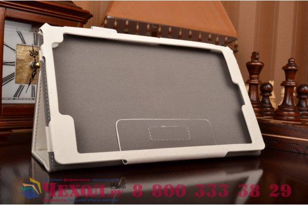 """Фирменный чехол бизнес класса для Asus ZenPad 8 Z380C/Z380KL с визитницей и держателем для руки белый натуральная кожа """"Prestige"""" Италия"""