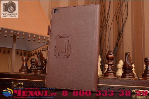 """Фирменный чехол бизнес класса для Asus ZenPad 8 Z380C/Z380KL Z380KNL с визитницей и держателем для руки коричневый натуральная кожа """"Prestige"""" Италия"""