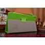 Фирменный чехол бизнес класса для Asus ZenPad 8 Z380C/Z380KL Z380KNL с визитницей и держателем для руки зелены..