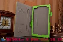"""Фирменный чехол бизнес класса для Asus ZenPad 8 Z380C/Z380KL Z380KNL с визитницей и держателем для руки зеленый натуральная кожа """"Prestige"""" Италия"""
