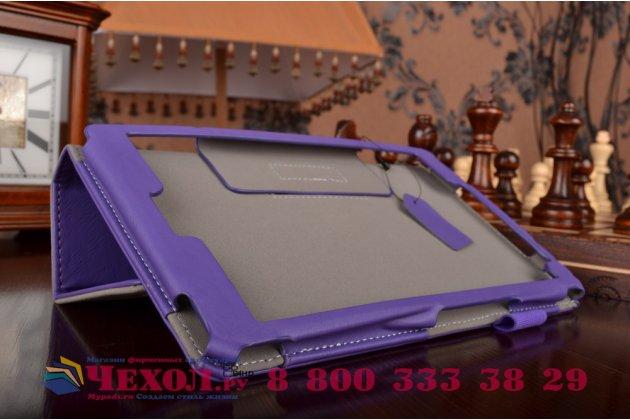 """Фирменный чехол бизнес класса для Asus ZenPad 8 Z380C/Z380KL Z380KNL с визитницей и держателем для руки фиолетовый натуральная кожа """"Prestige"""" Италия"""
