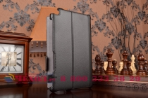 """Фирменный чехол для планшета Asus ZenPad 8 Z380C/Z380KL с мульти-подставкой и держателем для руки черный кожаный """"Deluxe"""" Италия"""