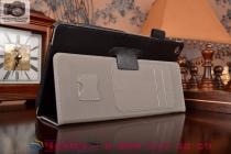 """Фирменный чехол обложка для Asus ZenPad 8 Z380C/Z380KL Z380KNL с визитницей и держателем для руки черный натуральная кожа """"Prestige"""" Италия"""
