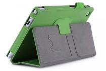 """Фирменный чехол бизнес класса для Asus ZenPad C 7.0 Z170C/Z170CG/Z170MG с визитницей и держателем для руки зеленый натуральная кожа """"Prestige"""" Италия"""