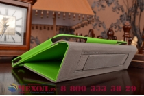 """Фирменный чехол бизнес класса для Asus ZenPad S 8.0 Z580CA/Z580C с визитницей и держателем для руки зеленый натуральная кожа """"Prestige"""" Италия"""