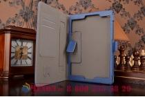 """Фирменный чехол бизнес класса для Asus ZenPad S 8.0 Z580CA/Z580C с визитницей и держателем для руки синий натуральная кожа """"Prestige"""" Италия"""