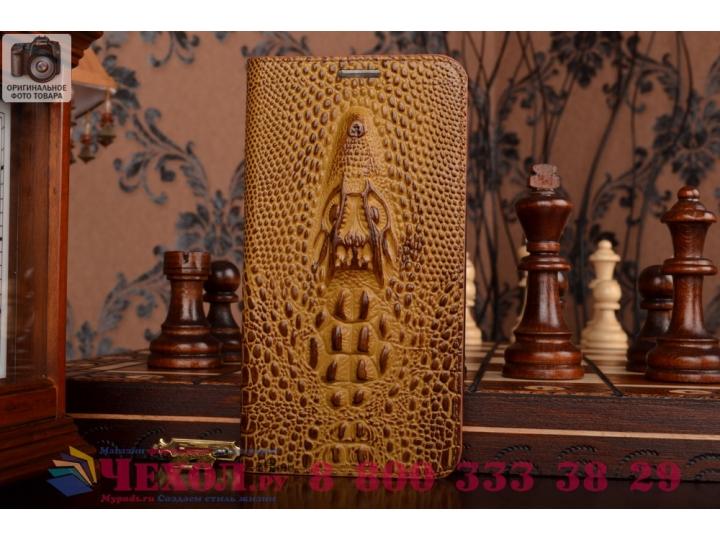 Фирменный роскошный эксклюзивный чехол с объёмным 3D изображением кожи крокодила коричневый для Asus Zenfone 2..