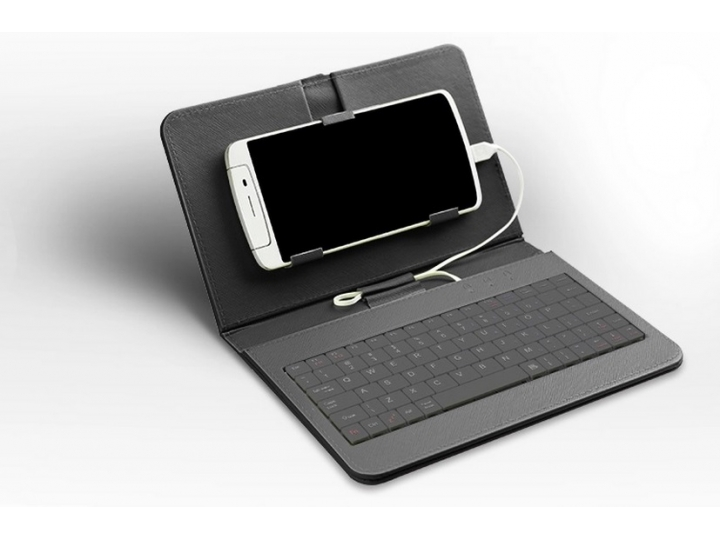 Фирменный чехол со встроенной клавиатурой для телефона ASUS ZenFone 2 ZE550ML 5.5 дюймов черный кожаный + гара..