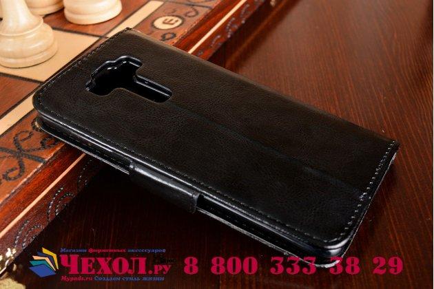 """Фирменный чехол-книжка для ASUS ZenFone 3 Deluxe ZS550KL 5.5"""" с визитницей и мультиподставкой черный кожаный"""