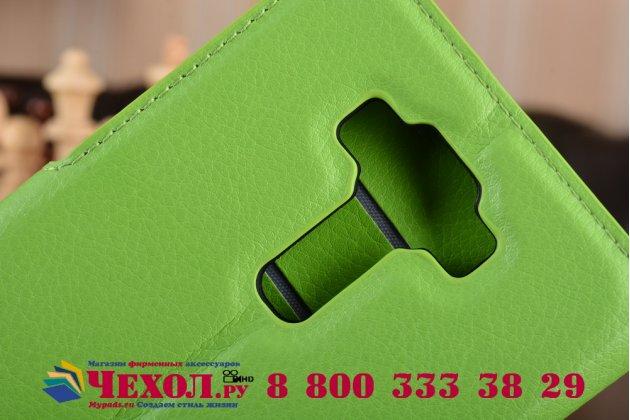 """Фирменный чехол-книжка для ASUS ZenFone 3 Deluxe ZS550KL 5.5"""" с визитницей и мультиподставкой зеленый кожаный"""
