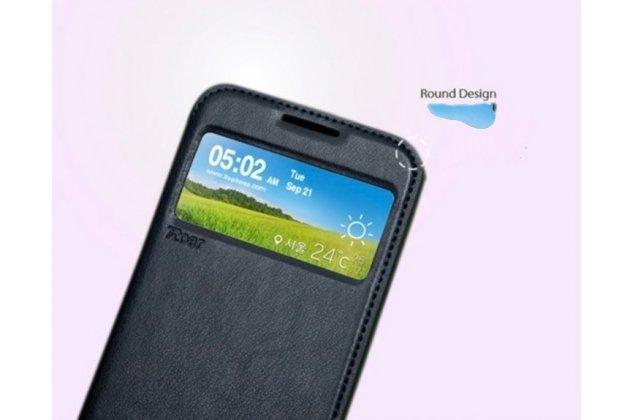 Фирменный чехол-книжка для Asus Zenfone Max ZC550KL/ 2 MAX 5.5 черный с окошком для входящих вызовов  кожаный