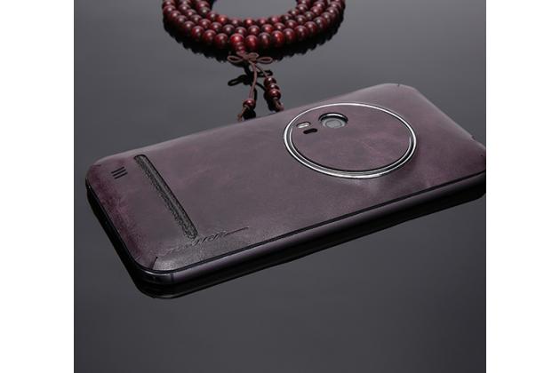 Нашивка из натуральной импортной кожи на заднюю крышку телефона для ASUS ZenFone Zoom ZX551ML / ZX550ML  фиолетовая