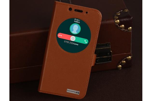 Фирменный оригинальный чехол-книжка для Asus Zenfone Max ZC550KL/ 2 MAX 5.5 коричневый  с окошком для входящих вызовов водоотталкивающий