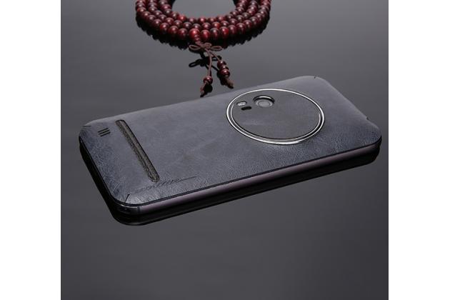 Нашивка из натуральной импортной кожи на заднюю крышку телефона для ASUS ZenFone Zoom ZX551ML / ZX550ML синяя