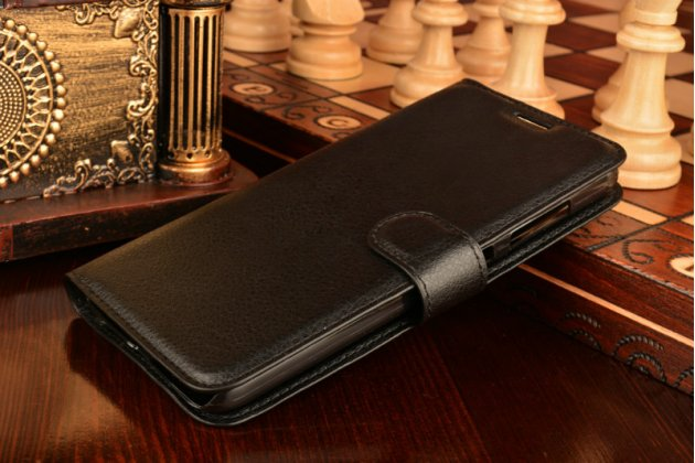 Фирменный чехол-книжка из качественной импортной кожи с подставкой застёжкой и визитницей для Асус зенфон макс ЗЦ551КЛ/ 2 Макс 5.5 черный