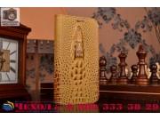 Фирменный роскошный эксклюзивный чехол с объёмным 3D изображением кожи крокодила коричневый для ASUS ZenFone Z..