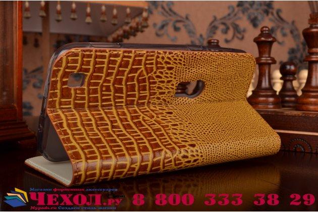 Фирменный роскошный эксклюзивный чехол с объёмным 3D изображением кожи крокодила коричневый для ASUS ZenFone Zoom ZX551ML / ZX550ML. Только в нашем магазине. Количество ограничено