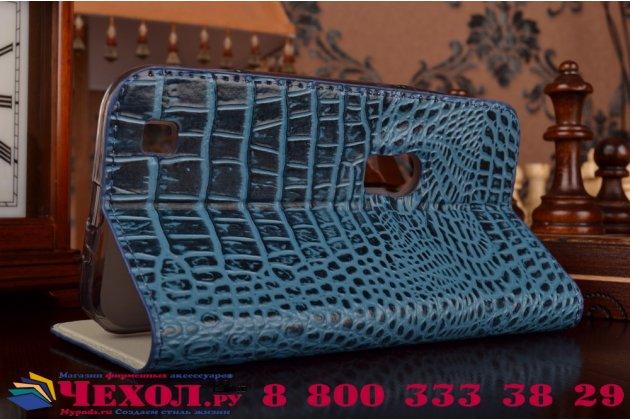 Фирменный роскошный эксклюзивный чехол с объёмным 3D изображением рельефа кожи крокодила синий для ASUS ZenFone Zoom ZX551ML / ZX550ML. Только в нашем магазине. Количество ограничено