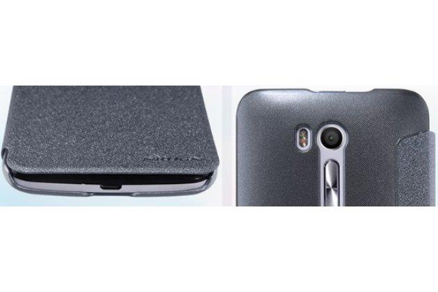 Фирменный оригинальный чехол-книжка из качественной импортной кожи с окном для входящих вызовов  для ASUS ZenFone Go ZB552KL 5.5 (X007D) черный