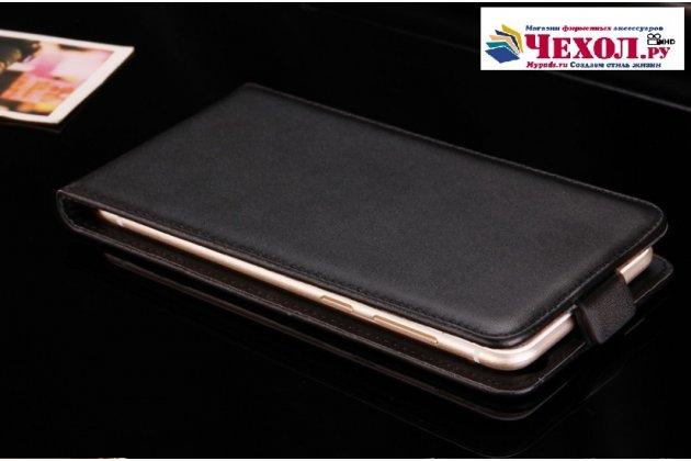 Фирменный оригинальный вертикальный откидной чехол-флип для ASUS ZenFone Go ZB552KL 5.5 (X007D)  черный из натуральной кожи Prestige Италия