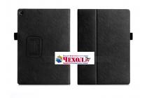 """Фирменный чехол бизнес класса для ASUS ZenPad 3s 10 / ASUS ZenPad 10 Z500M  9.7"""" с визитницей и держателем для руки черный натуральная кожа """"Prestige"""" Италия"""