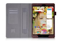 """Фирменный чехол бизнес класса для ASUS ZenPad 3s 10 / ASUS ZenPad 10 Z500M  9.7"""" с визитницей и держателем для руки коричневый натуральная кожа """"Prestige"""" Италия"""