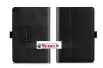 """Фирменный чехол бизнес класса для ASUS ZenPad Z8 Z581KL 7.9"""" с визитницей и держателем для руки черный натуральная кожа """"Prestige"""" Италия"""