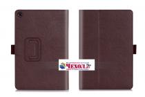 """Фирменный чехол бизнес класса для ASUS ZenPad Z8 Z581KL 7.9"""" с визитницей и держателем для руки коричневый натуральная кожа """"Prestige"""" Италия"""