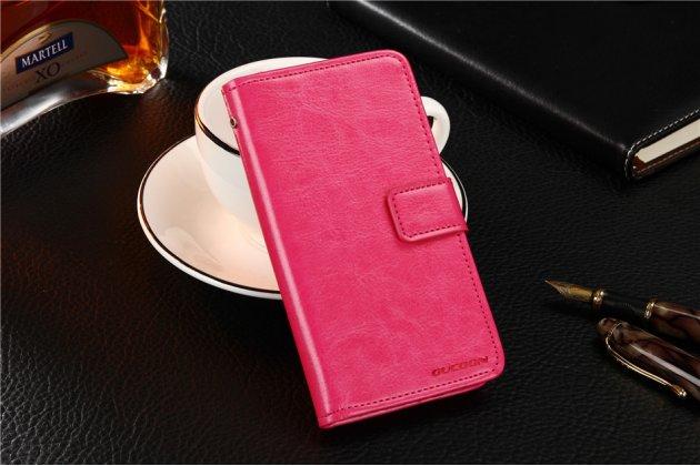 Фирменный чехол-книжка из качественной импортной кожи с мульти-подставкой застёжкой и визитницей для Digma Vox S502F 3G розовый