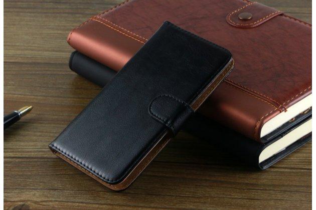 Фирменный чехол-книжка из качественной импортной кожи с мульти-подставкой застёжкой и визитницей для Digma Vox S502F 3G черный