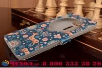 """Фирменный чехол-книжка с безумно красивым расписным рисунком Оленя в цветах на ASUS Zenfone 2 Laser ZE601KL 6.0"""" с окошком для звонков"""