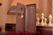 """Ультра тонкий лёгкий чехол-обложка с окном для входящих вызовов для ASUS Zenfone 2 Lazer ZE550KL 5.5""""  коричневый"""