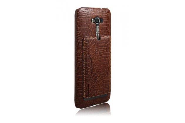 """Фирменная роскошная элитная премиальная задняя панель-крышка для ASUS Zenfone 2 Lazer ZE550KL 5.5"""" из лаковой кожи крокодила с визитницей коричневая"""