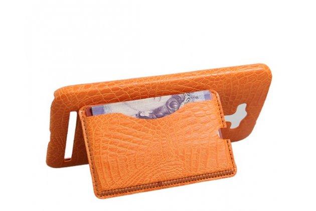 """Фирменная роскошная элитная премиальная задняя панель-крышка для ASUS Zenfone 2 Lazer ZE550KL 5.5"""" из лаковой кожи крокодила с визитницей оранжевая"""