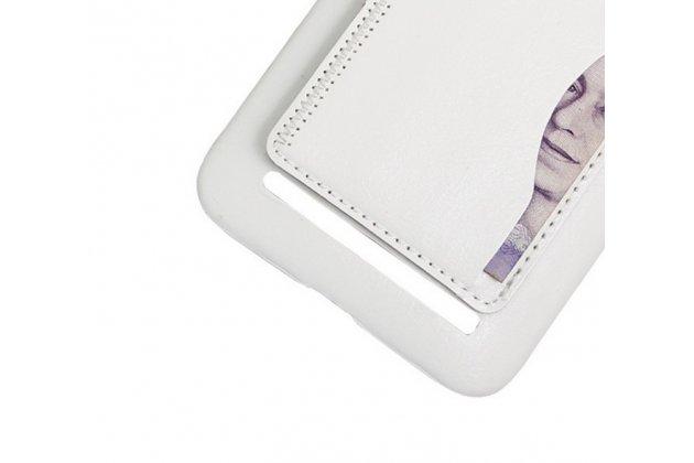 """Фирменная роскошная элитная премиальная задняя панель-крышка для ASUS Zenfone 2 Lazer ZE550KL 5.5"""" из качественной кожи буйвола с визитницей белая"""