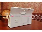 Фирменный чехол-обложка для Asus Memo Pad 10 ME102A с визитницей и держателем для руки белый натуральная кожа ..