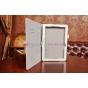 """Фирменный чехол-обложка для Asus Memo Pad 10 ME102A с визитницей и держателем для руки белый натуральная кожа """"Prestige"""" Италия"""